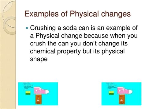 exle of physical change castaner 2nd period physical and chemical changes