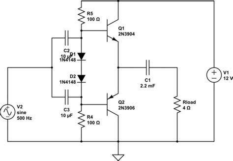 diode biasing circuit transistors input coupling to class ab with diode bias one capacitor or two electrical
