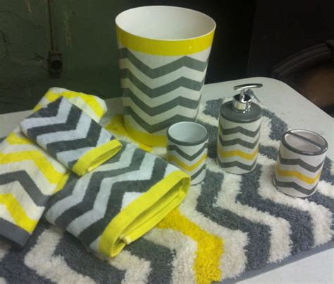 Yellow Chevron Bath Rug by Chevron Neon Yellow Gray White 8 Pc Bathroom Set Bath