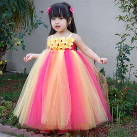 Carset 3 In Hug Flower Dress Hotpink aliexpress buy rainbow pink yellow flower dress for wedding birthday