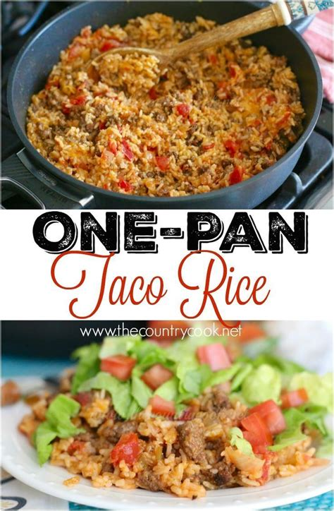 one pan taco rice dinner recipe tacos bar and cheddar
