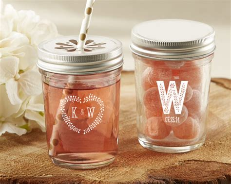 personalized rustic wedding printed glass mason jar set of 12 my wedding favors - Mason Jar Wedding Giveaways