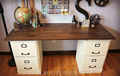 desk with file cabinet and hutch pottery barn inspired desk using goodwill filing cabinets