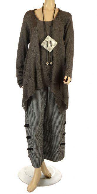 Porcelin Combi Dress lagenlook designers amandine grey asymmetric lagenlook knit lagenlook clothes comfort