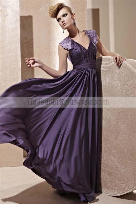 Purple Floor L Floor Length Purple Open Back Evening Dress With Beading