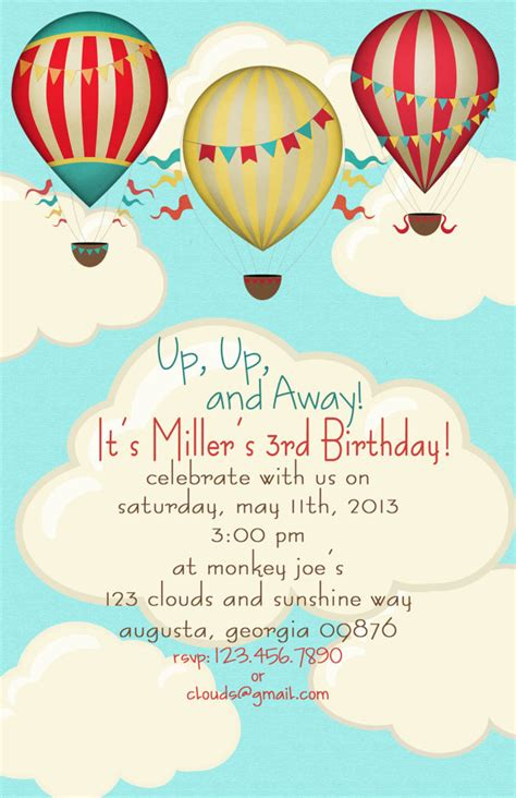 balloon card template air balloon birthday invitations