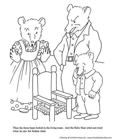 free coloring pages of story about 3 bears