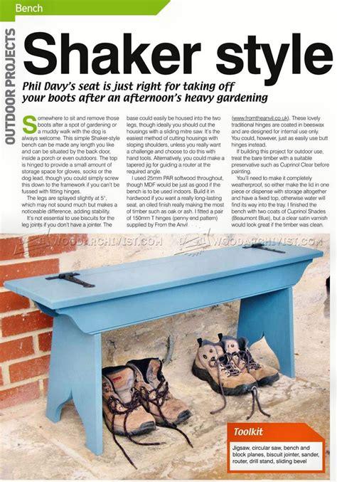 shaker bench seat shaker style bench seat plans woodarchivist