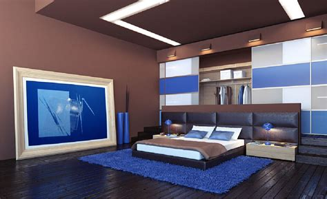 inspired japanese bedroom interior design style with low bed furniture above blue fur rug also