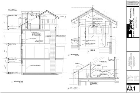 building section drawing set of construction drawing for custom home synergy