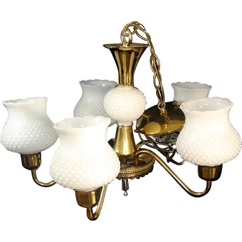 Hanging L Shades Images by 5 Arm Chandelier Hanging Light Fixture Brass White Hobnail
