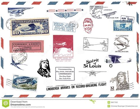 printable airmail stickers postage sts and airmail labels about charles lindbergh