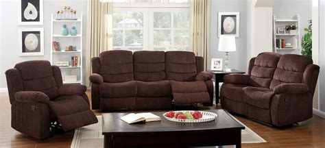 Chenille Living Room Furniture Millville Brown Chenille Reclining Living Room Set Cm6173sf Furniture Of America