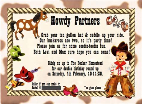 cowboy birthday card templates cowboy birthday planning and diy on a