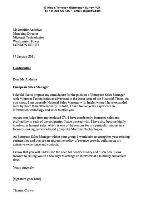 cover letter exles sle cover letter for sales