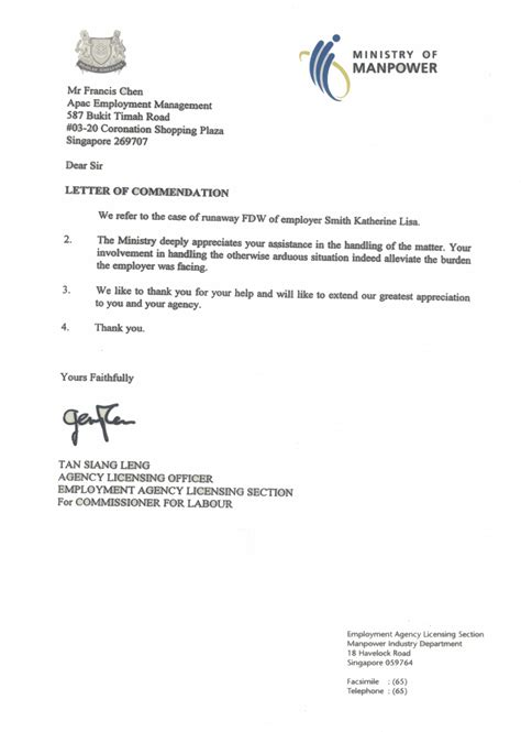 Employment Letter Format Singapore Agency Apac Employment Management Pte Ltd