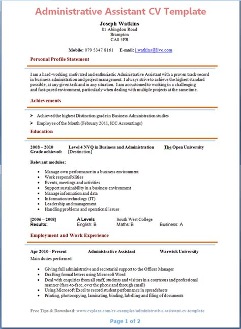 administrative assistant curriculum vitae sle administrative assistant cv template page 1 preview