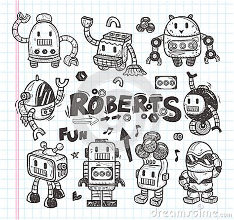 how to draw doodle in illustrator set of doodle robot icons illustrator line tools stock