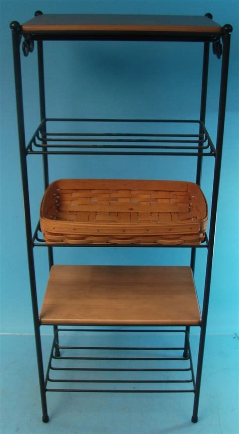 lot of 2 longaberger wrought iron 5 tier stands shelves