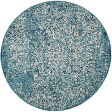Safavieh Evoke Blue Ivory 9 Ft X 9 Ft Round Area Rug 9 Foot Rugs