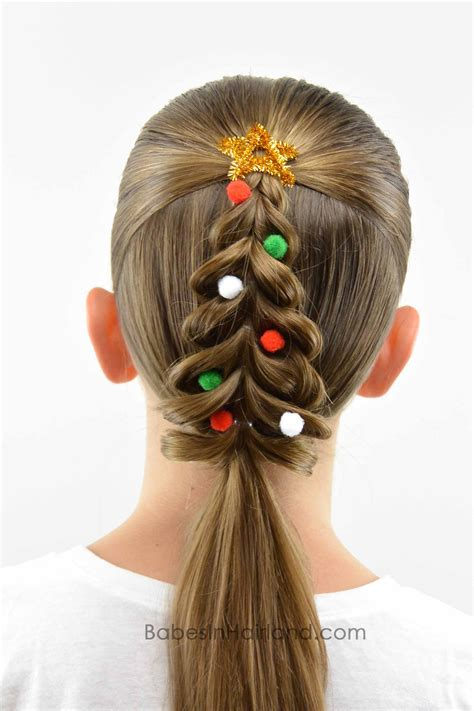 christmas hairstyles for women tree pull through braid in hairland