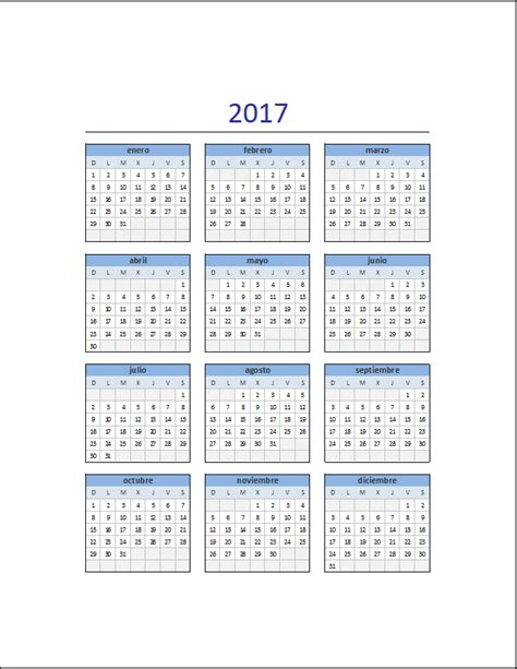 Calendario 2017 Editable Descarga El Calendario 2017 En Excel Excel Total