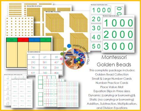 printable montessori golden beads montessori golden bead complete materials printable