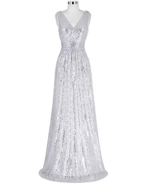 V Neck Sleeveless Evening Gown silver sequin evening dress v neck cheap evening