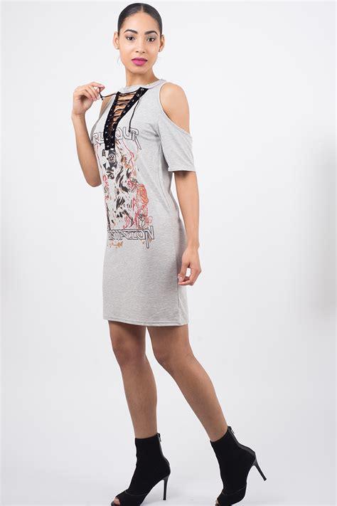 Stylish Shirt Dresses by Stylish Lace Up T Shirt Dress Stylish Dresses T Shirt