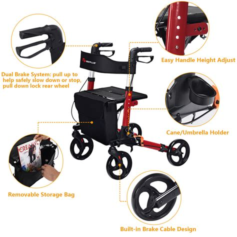 costway rollator  wheel foldable walking frame compact