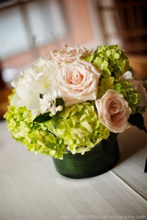 6 diy peony rose and hydrangea centerpieces for 50 garden roses peonies bouvardia hydrangea in this green