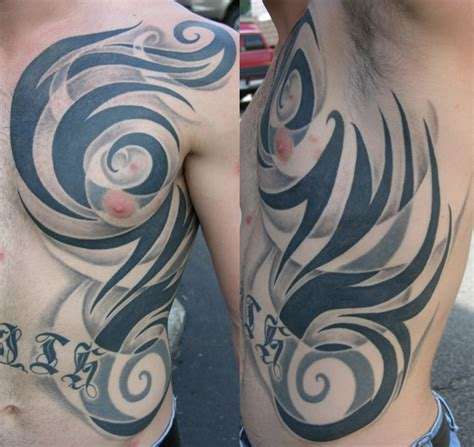 rib cage tribal tattoos for men