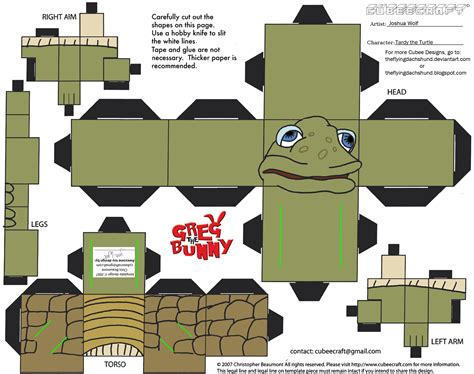Turtle Papercraft - wta tardy the turtle cubee by theflyingdachshund on