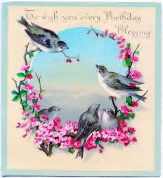 vintage clip art image sweet birds with flowers
