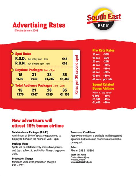 radio rate card template ad rate card pictures to pin on pinsdaddy