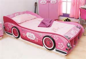 cars themed bedroom furniture birch: cute pink kids room with small barbie car bed and sweet bedding set