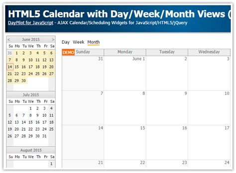 html calendar dayweekmonth views javascript php