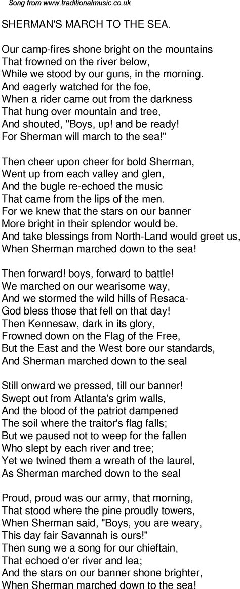 Old Time Song Lyrics for 40 Shermans March To The Sea