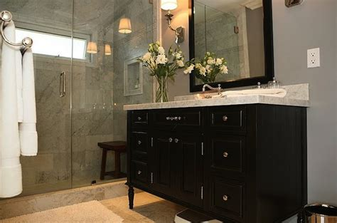 bathrooms with black vanities black vanity contemporary bathroom jeff lewis design