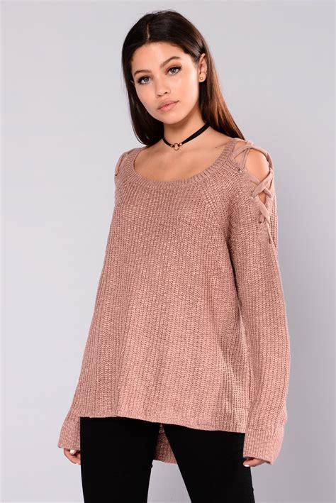 Poky Sweater Dusty Pink kaliah lace up sweater dusty pink