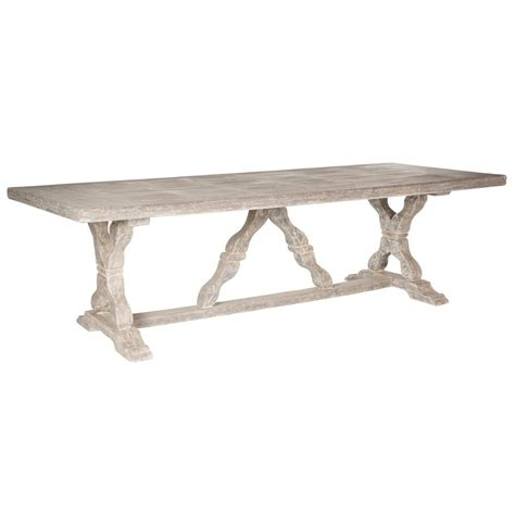 ronald french country indoor distressed grey dining table
