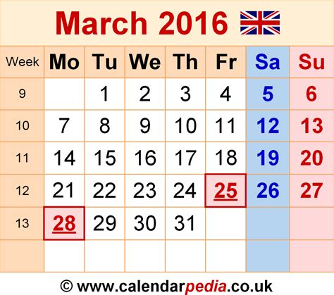 2016 Calendar Template Pdf Uk Calendar March 2016 Uk Bank Holidays Excel Pdf Word