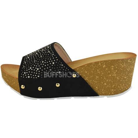 Summer Beajove Comfort Sandal Wedges womens wedge sandal diamante summer slider slip on