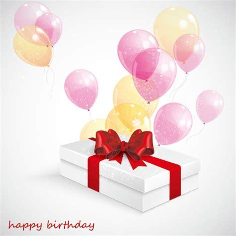 beautiful balloon with birthday gift vector vector