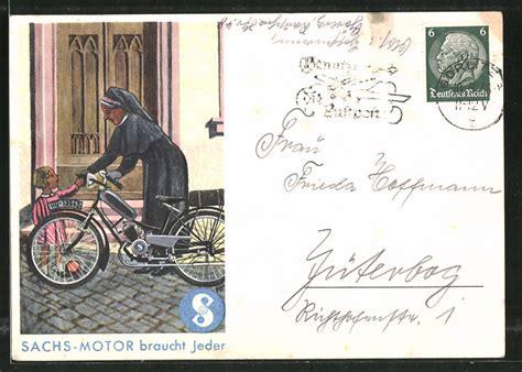 Sachs Motorrad Motoren by Ak Reklame F 252 R Sachs Motor Motorradfahrerin Auf Einem