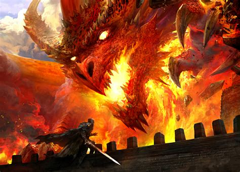 concept art fantasy illustrations photoshopcoolvibe digital art illustration red dragon 2d digital concept art