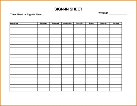 sign in sheet office templates
