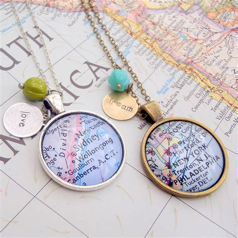personalised location map pendant necklace by evy designs