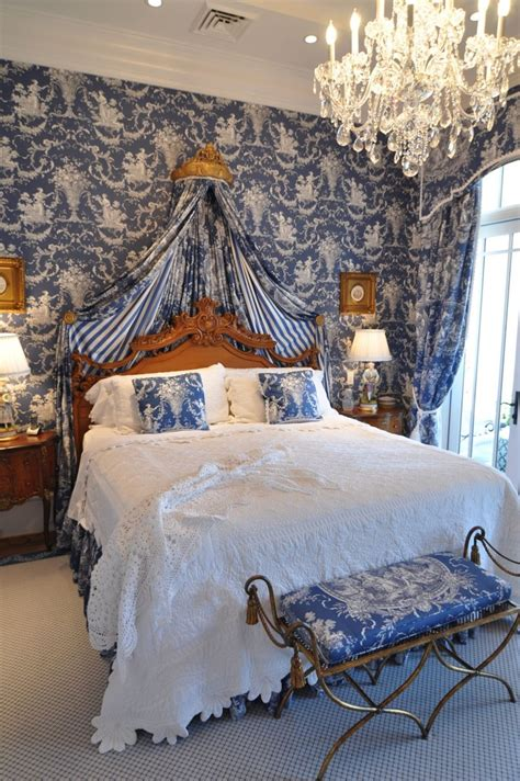 toile wallpaper bedroom deep blue toile interiors by color