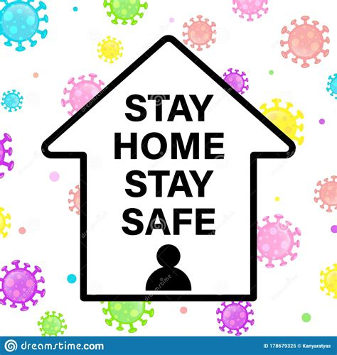 stay home stay safe lettering concept design